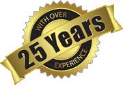 25 years experience badge
